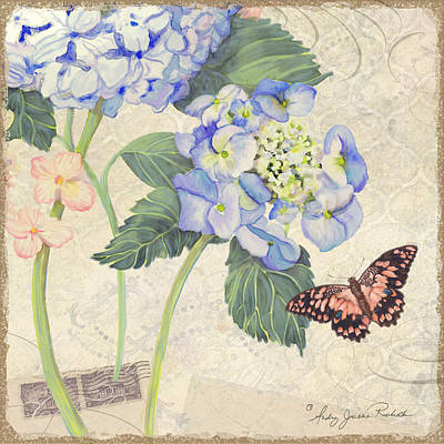 Bloom Art Mixed Media - Summer Memories - Blue Hydrangea N Butterfly by Audrey Jeanne Roberts