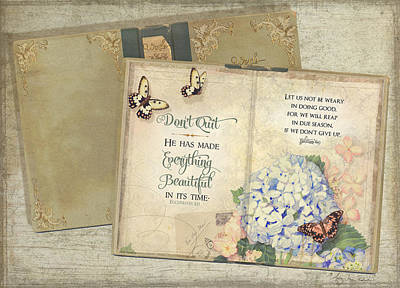 Bloom Art Mixed Media - Summer Memories - Don't Quit Inspirational Scripture by Audrey Jeanne Roberts