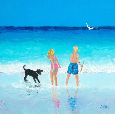 Children And Dog Painting - Summer Memories by Jan Matson