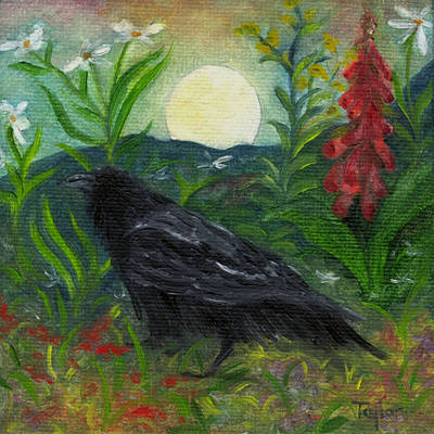 Painting - Summer Moon Raven by FT McKinstry