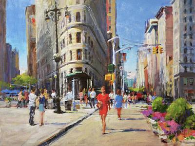 Summer Morning At Flatiron Plaza Art Print by Peter Salwen