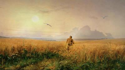Summer Morning In The Rye Field Art Print