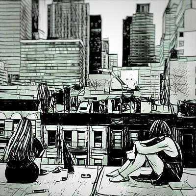 Digital Art - Summer Night In The City Sketch Drawing by MendyZ