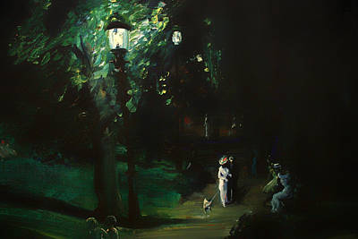 Gaslight Painting - Summer Night - Riverside Drive by Mountain Dreams