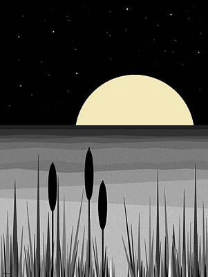 Digital Art - Summer Nights - Black And White by Val Arie