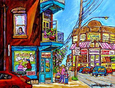 Painting - Summer On Fairmount Street Wilensky's Diner Montreal Boulangerie Clarke Canadian Art Carole Spandau  by Carole Spandau