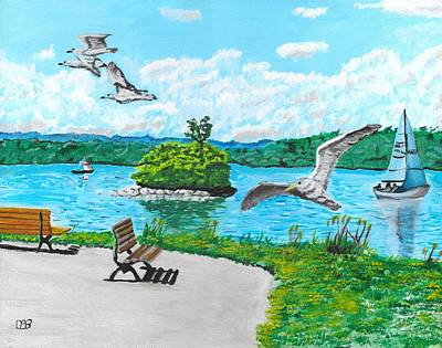 Water Painting - Summer On The Bay by David Bigelow