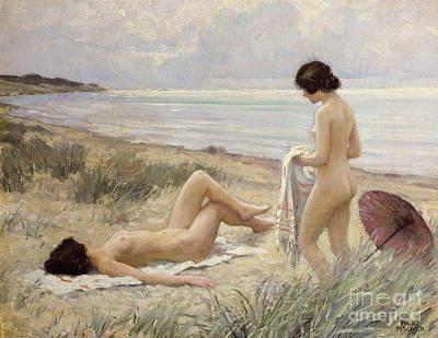 Oil Painting - Summer On The Beach by Paul Fischer