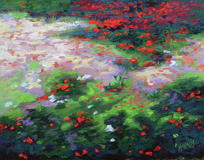 Painting - Summer petals on a forest ground by Ben Morales-Correa
