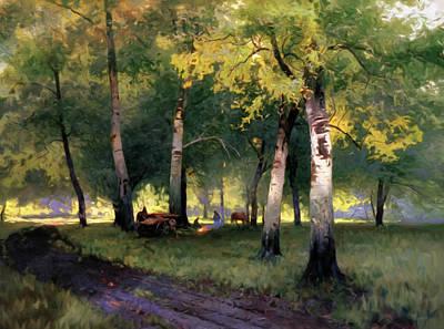 Design Digital Art - Summer Picnic Amongst The Birch Trees by Georgiana Romanovna