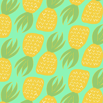 Tropical Digital Art - Summer Pineapples by Allyson Johnson
