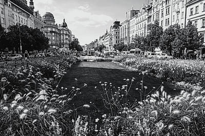 Print featuring the photograph Summer Prague. Black And White by Jenny Rainbow