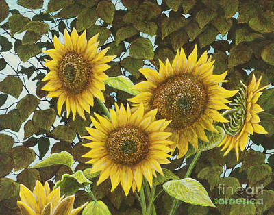 Yellow Sunflowers Painting - Summer Quintet by Marc Dmytryshyn
