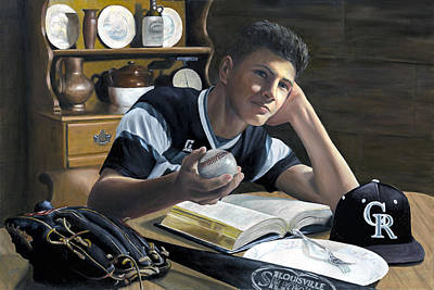 Painting - Summer Reading - Game Day by Rick Fitzsimons