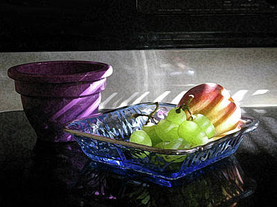 Wall Art - Digital Art - Summer Reflections On Fruit And Glass  by Linda Heberling