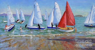 Sailing Ship On Ocean Painting - Summer Regatta, Abersoch by Andrew Macara