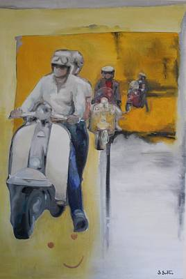 Scooter Painting - Summer Ride Out by Sara Sutton