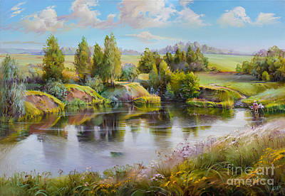 Meadow Willows Painting - Summer by Roman Romanov
