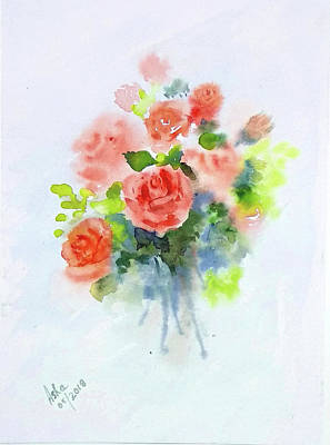 Painting - Summer Roses by Asha Sudhaker Shenoy