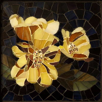 Glass Art - Summer Roses by Julie Mazzoni