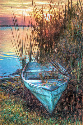 Photograph - Summer Rowboat At Dusk Painting by Debra and Dave Vanderlaan