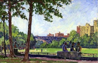 Painting - Summer Shade Baseball Fields At Inwood Nyc 8x12 Plein Air Impressionist Oil On Panel by Thor Wickstrom