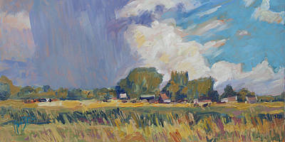 Painting - Summer Shower Ouderkerk Aan Den Ijssel by Nop Briex