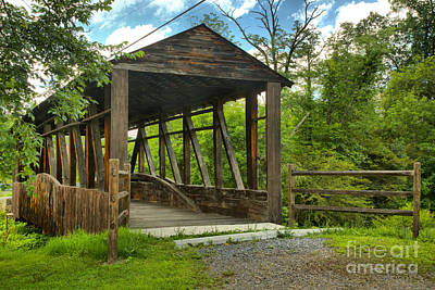 Photograph - Summer Skies Over The New Paris Covered Bridge by Adam Jewell