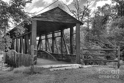 Photograph - Summer Skies Over The New Paris Covered Bridge Black And White by Adam Jewell