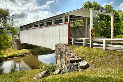 Photograph - Summer Skies Over The Ryot Covered Bridge by Adam Jewell