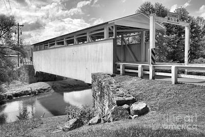 Photograph - Summer Skies Over The Ryot Covered Bridge Black And White by Adam Jewell