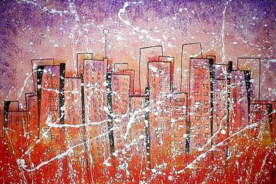 Summer Squall Painting - Summer Squall Cityscape by Vera Bean