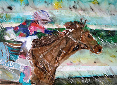 Jockey Drawing - Summer Squall Horse Racing by Mindy Newman