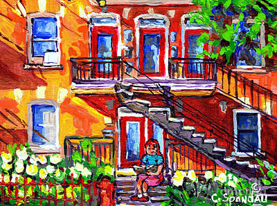 Painting - Summer Staircase Verdun Montreal To Plateau Mont Royal Cityscene Girl Reading Canadian Art C Spandau by Carole Spandau