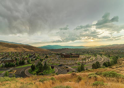 Photograph - Summer Storm Brewing At Sunset Over Somersett In The High Desert Of Northwest Reno, Nv by Brian Ball