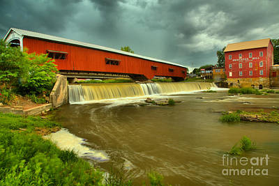Photograph - Summer Storms Over The Bridgeton Mill by Adam Jewell