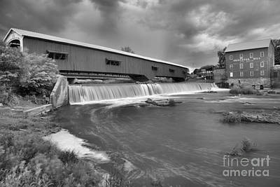 Photograph - Summer Storms Over The Bridgeton Mill Black And White by Adam Jewell