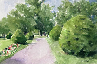 Abstract Landscape Painting - Summer Stroll Boston Public Garden by Beverly Brown