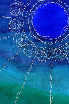 Mixed Media - Sun Design In Blue by Patricia Strand