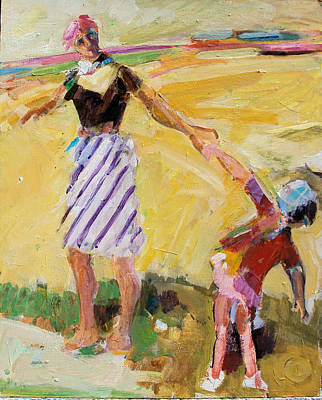 Art Print featuring the painting Summer Sun  Mother And Child by Diane Ursin