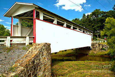 Photograph - Summer Sun On The Ryot Covered Bridge by Adam Jewell