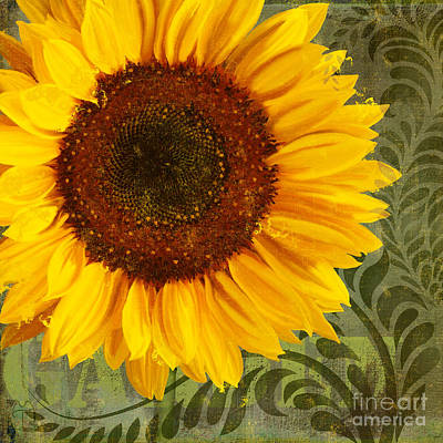 Summer Sun Verdant Afternoon Sunflower Garden Print by Tina Lavoie