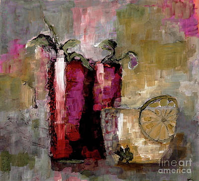 Digital Art - Summer Sunday Sangria With Lemon Water Infusion Painting by Lisa Kaiser