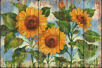 Beige Painting - Summer Sunflowers Distressed by Paul Brent