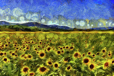 Mixed Media - Summer Sunflowers Van Gogh by David Pyatt