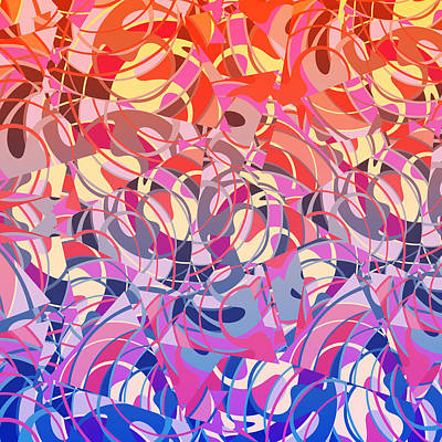 Mixed Media - Summer Sunset Abstract  by Gravityx9 Designs
