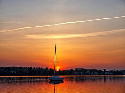 Photograph - Summer Sunset At Anchor by Bruce Gannon