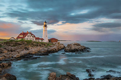 Photograph - Summer Sunset At Portland Head Light by Jesse MacDonald