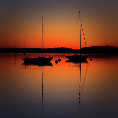 Photograph - Summer Sunset Calm Anchor by Bruce Gannon