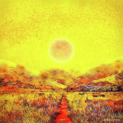 Art Print featuring the digital art Summer Sunset Field - Trail In Marin California by Joel Bruce Wallach